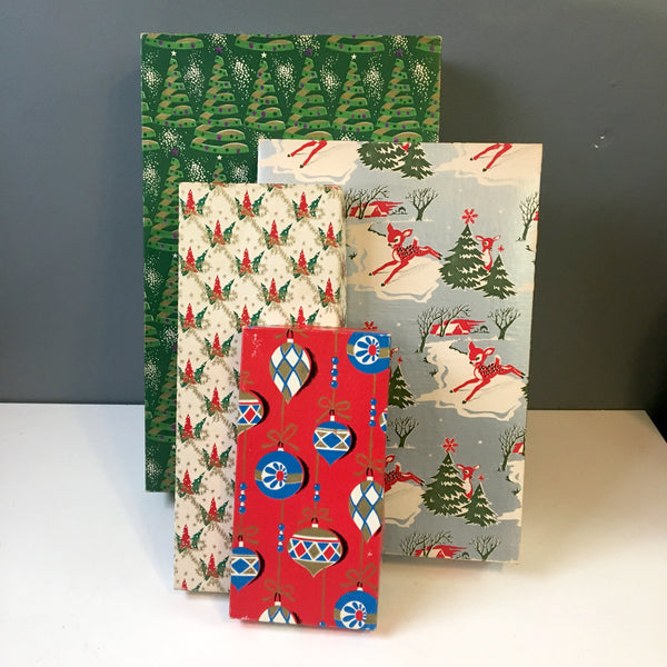 Christmas gift boxes - 4 assorted sizes - mid century vintage printed graphics - NextStage Vintage