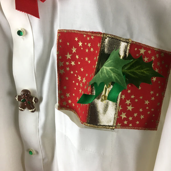 Christmas shirt - crisp white with appliqués - Shane Lee Inc. - NextStage Vintage