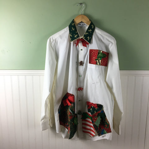 Christmas shirt - crisp white with appliqués - Shane Lee Inc.