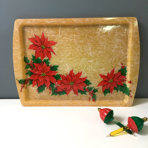 Fiberglass Christmas tray with poinsettias - 1960s vintage