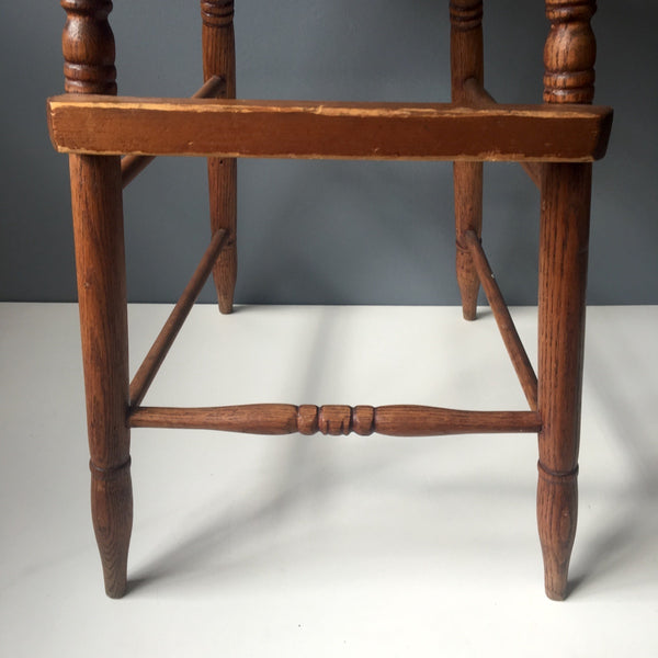 Antique oak youth chair - stick built with caned seat - early 1900s - NextStage Vintage