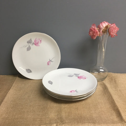 Johann Haviland - 5 bread and butter plates - Eva Zeisel design with roses - 1970s vintage