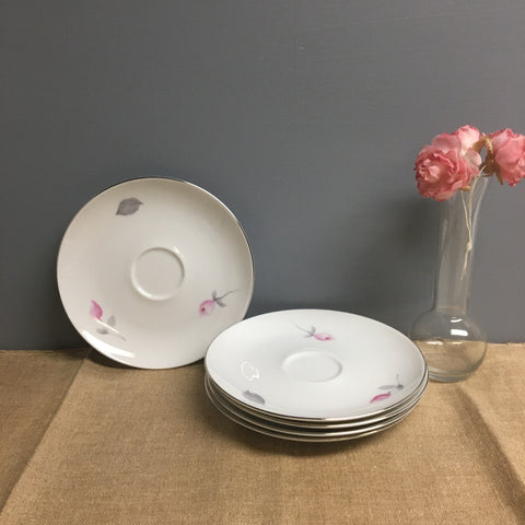 Johann Haviland - 5 saucers - Eva Zeisel design with roses - 1970s vintage