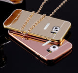 Luxury Metal Aluminum  Mirror Rose Gold Back Cover for Samsung Galaxy S6 edge - MyGlobalGear