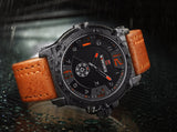 NAVIFORCE Luxury Sport Quartz-Watch Leather Strap Waterproof - MyGlobalGear