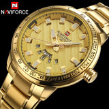 Men Quartz Watch NAVIFORCE Luxury Sport Watches Business Gold 30M Waterproof - MyGlobalGear