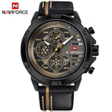 NAVIFORCE Mens Watches  Luxury Waterproof 24 hour Date Quartz  Leather Sport Wrist Watch - MyGlobalGear
