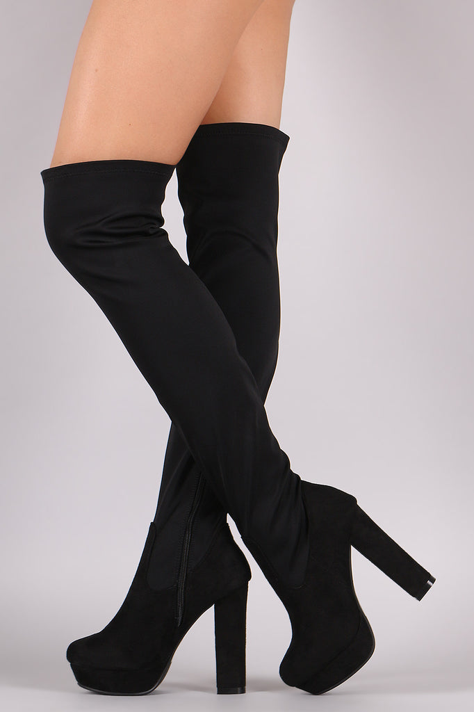 Fitted Chunky Heeled Over The Knee