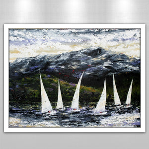 Winter Palette of 'Sailing the Derwent' by Tasmanian Artist, Esther Shohet