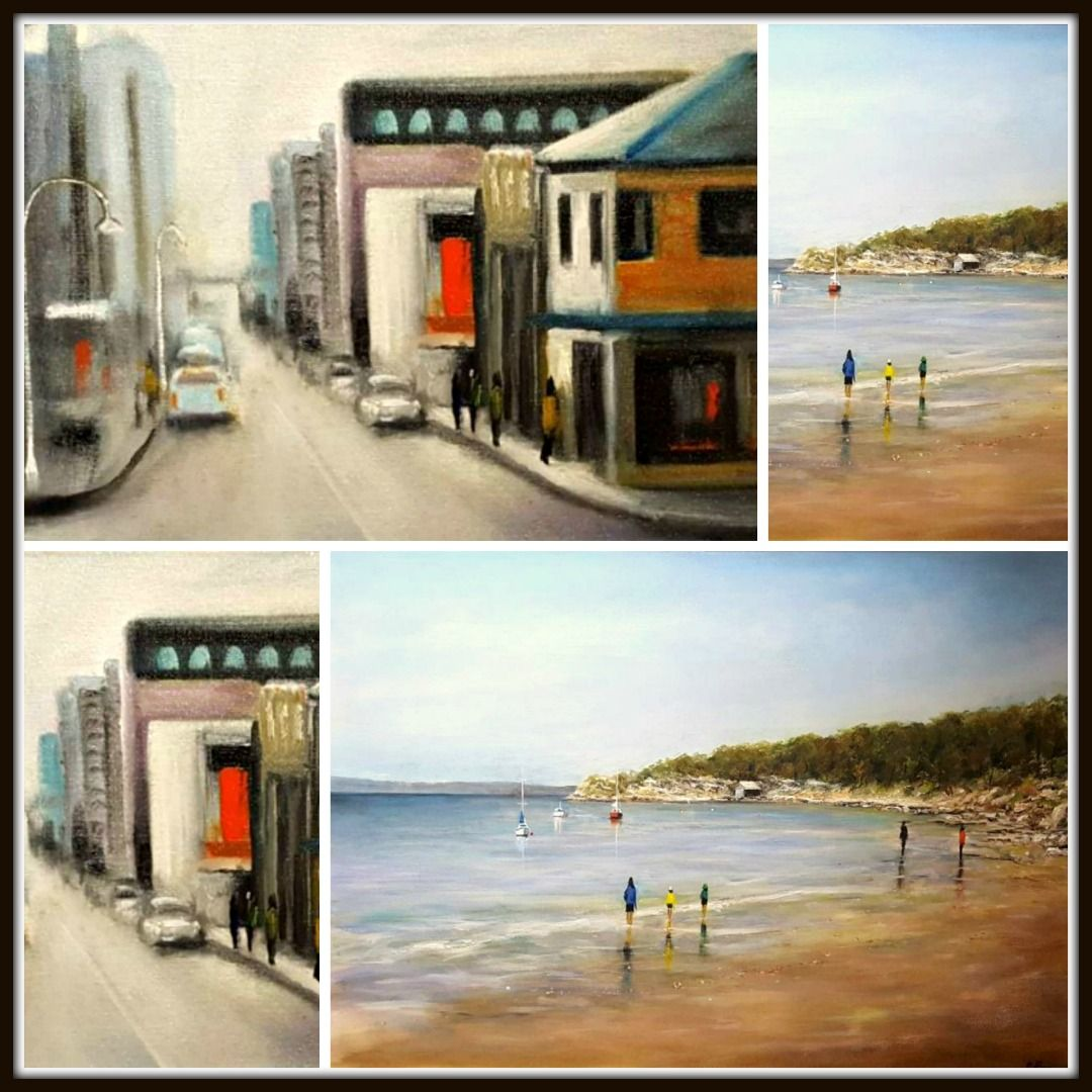 Lovely Cityscape and Seascape by Talented Tasmanian Artist, Tony Ryan