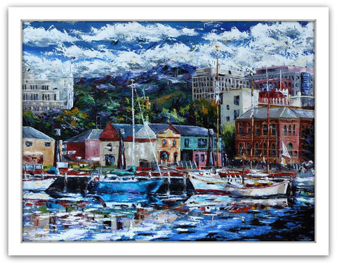 Esther Shohet Painting ~ 'Reflections of Hobart' - Gallery Salamanca Tasmania