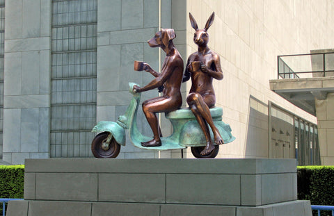 Gillie and Marc Bronze in Public Space ~ 'They Loved Coffee, Riding and Each Other'