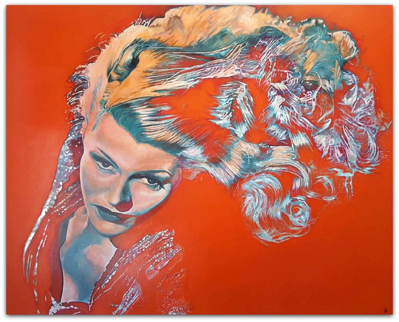 Andrew Causon Painting ~ 'The Toss' (Rita Hayworth) - Gallery Salamanca Hobart Tasmania