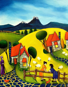 Beverley Skurulis Painting ~ 'Eight Sheep in the Paddocks' - Gallery Salamanca Hobart Tasmania