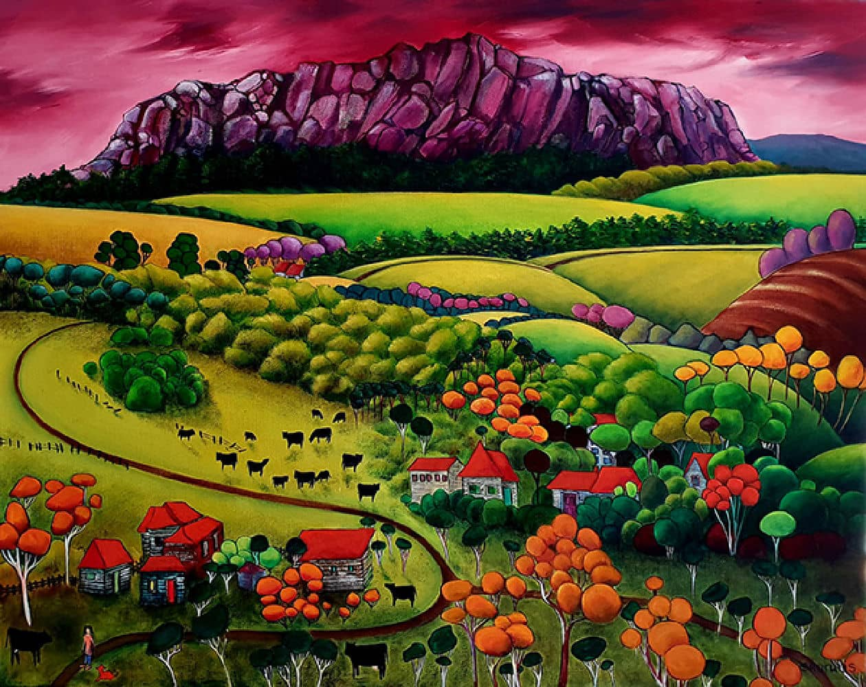 *Beverley Skurulis Painting ~ 'One Mountain on the Horizon' - Gallery Salamanca Hobart Tasmana