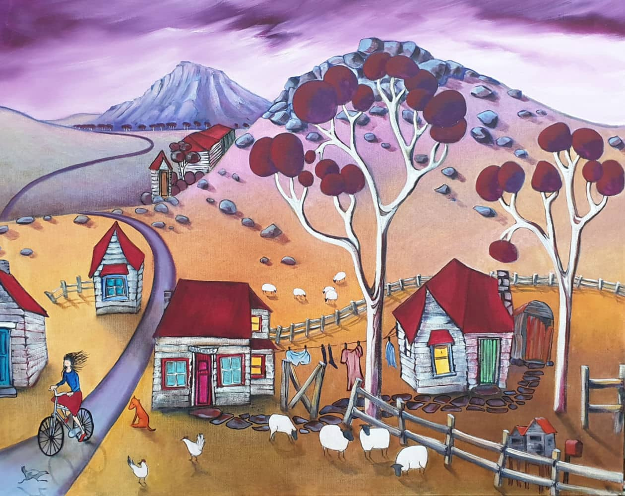 Beverley Skurulis Painting ~ 'One Turbo Chook on the Road' - Gallery Salamanca Hobart Tasmania