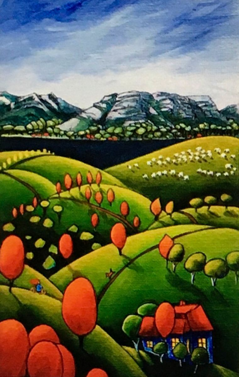 Beverley Skurulis Painting ~ 'Over the Hill & Far Away' - Gallery Salamanca Hobart Tasmania