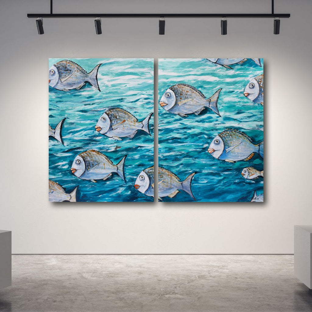 Beverley Skurulis Painting ~ 'Some Fish and More Fish' Diptych - Gallery Salamanca Hobart Tasmania
