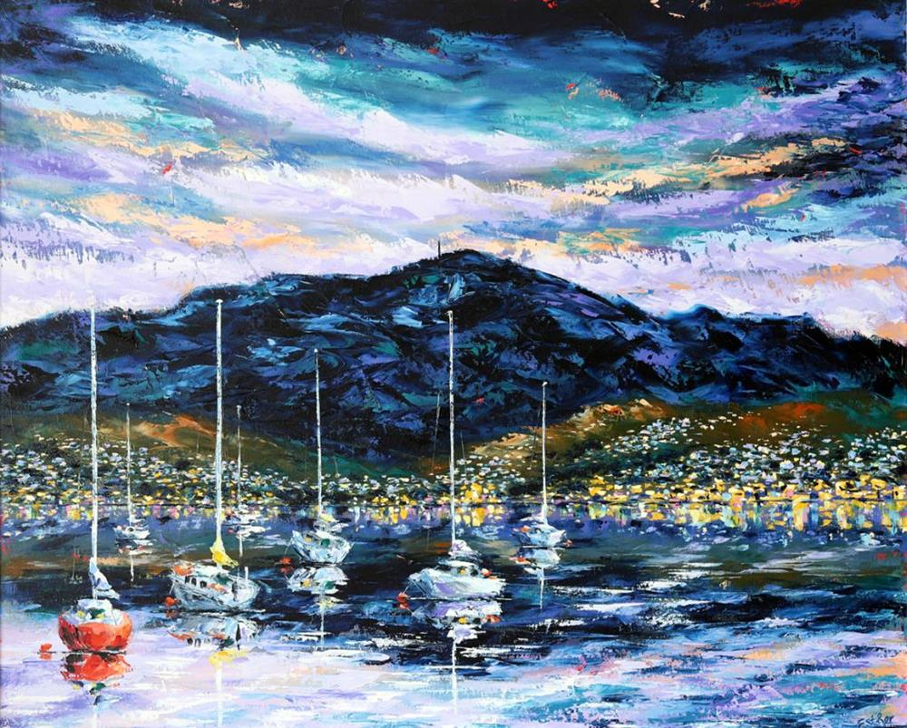 Esther Shohet Painting ~ 'As the Sun Goes Down' - Gallery Salamanca Hobart Tasmania