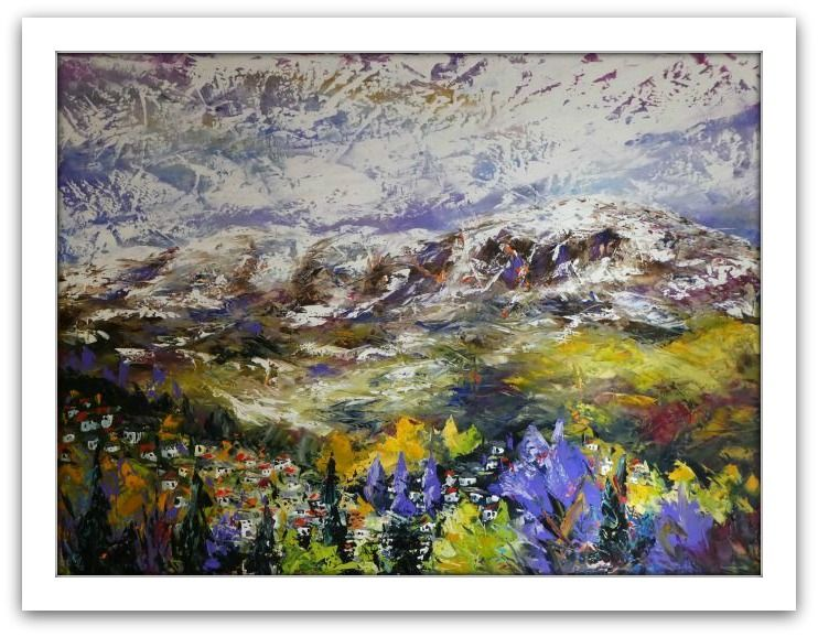 Esther Shohet Painting ~ 'At the Foot of the Mountain' - Gallery Salamanca