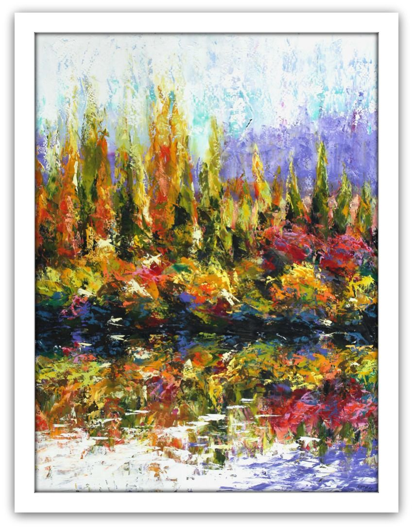 Esther Shohet Painting ~ 'Autumn on the Derwent' - Gallery Salamanca Tasmania