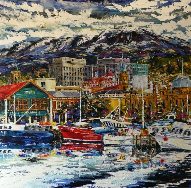 Esther Shohet Painting ~ 'Colours of Hobart' - Gallery Salamanca Tasmania