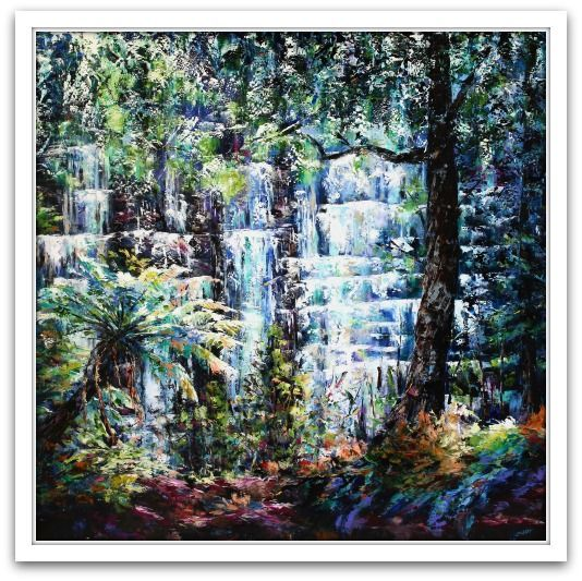 Esther Shohet Painting ~ 'The Cool in Summer' - Russell Falls - Gallery Salamanca Tasmania