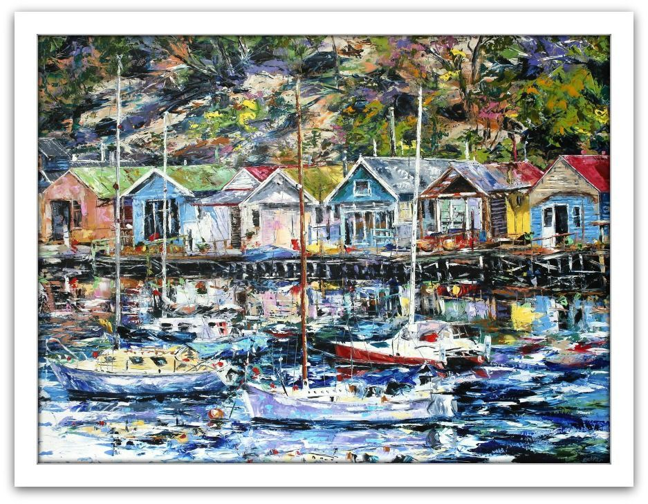 Esther Shohet Painting ~ 'Cornelian Bay Boathouses' Hobart - Gallery Salamanca