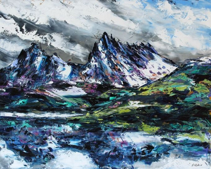 Esther Shohet Painting ~ 'Cradle Mountain' - Gallery Salamanca Tasmania