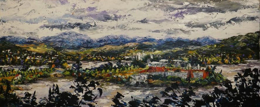 Esther Shohet Painting ~ 'Frying Pan Island, Hobart' - Gallery Salamanca Tasmania