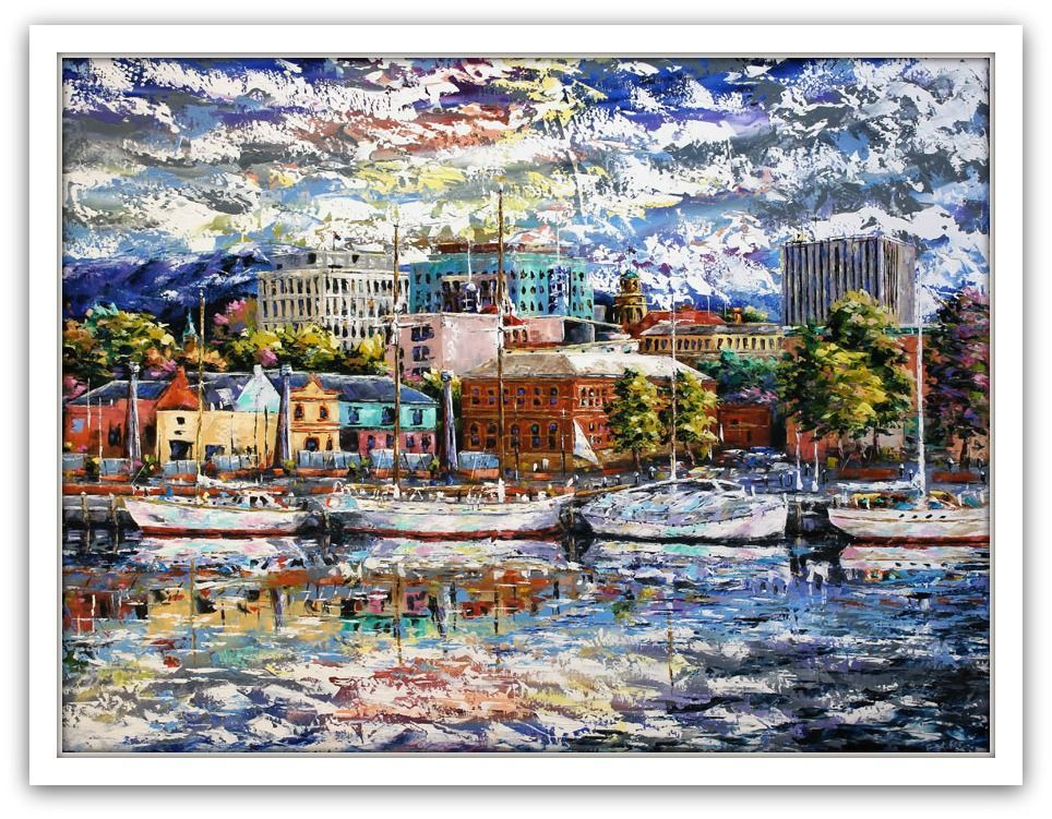 Esther Shohet Painting ~ 'Light on the Waterfront (Hobart)' - Gallery Salamanca Tasmania