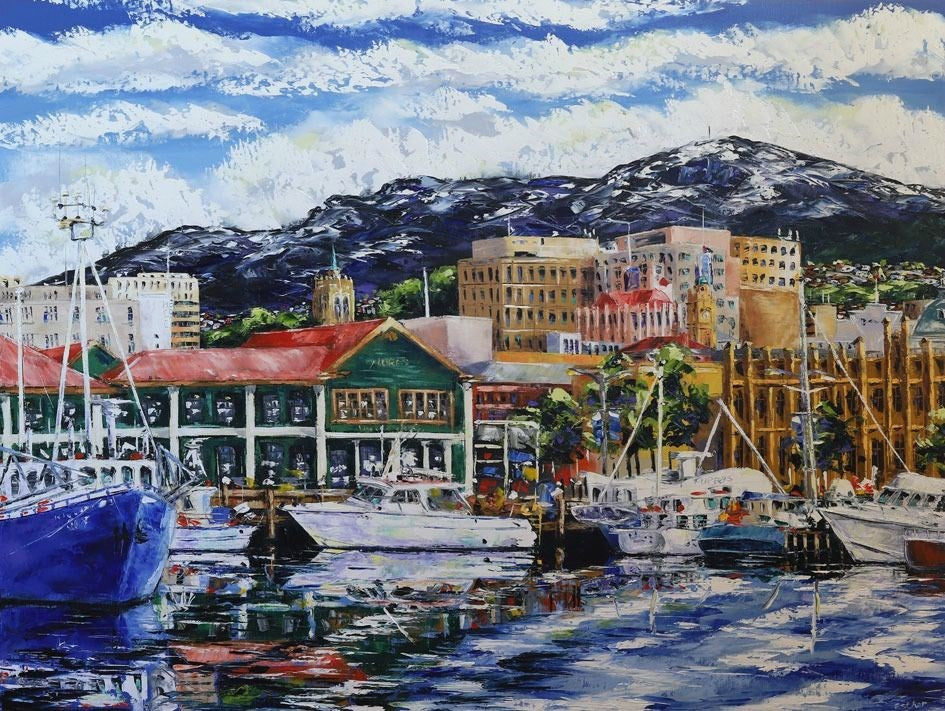 Esther Shohet Painting ~ 'Mures and the Mountain' - Gallery Salamanca Hobart Tasmania