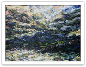 Esther Shohet Painting ~ 'Stormy Sky, Mount Wellington' - Gallery Salamanca Tasmania