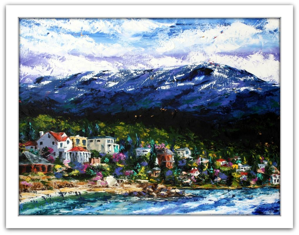 Esther Shohet Painting ~ 'The Beach and Mount Wellington' - Gallery Salamanca Hobart Tasmania
