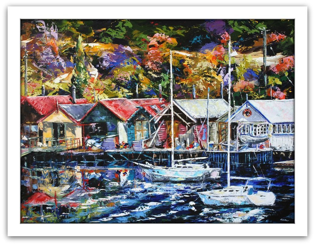 Esther Shohet Painting ~ 'The Boats and the Boathouses' - Gallery Salamanca Tasmania