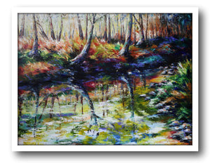 Esther Shohet Painting ~ 'The River Bank' - Gallery Salamanca Hobart Tasmania