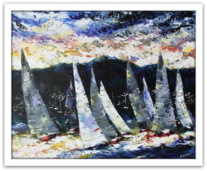 Esther Shohet Painting ~ 'Welcoming the Yachts' - Gallery Salamanca Tasmania