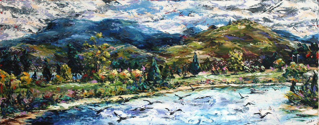 Esther Shohet Painting ~ 'Wellington from the 8th' - Gallery Salamanca Tasmania