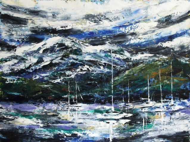 Esther Shohet Painting ~ 'Winter, Mt Wellington' - Gallery Salamanca Tasmania