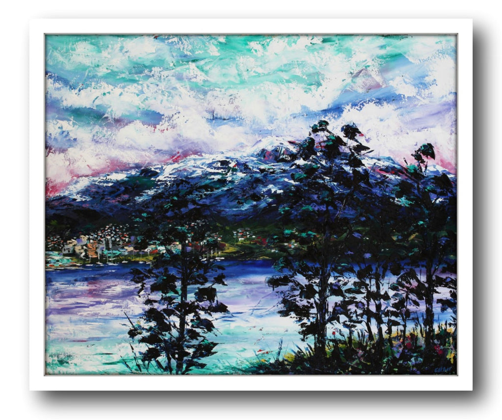 Esther Shohet Painting ~ 'A Winter's Morning, Mt Wellington' - Gallery Salamanca Hobart Tasmania
