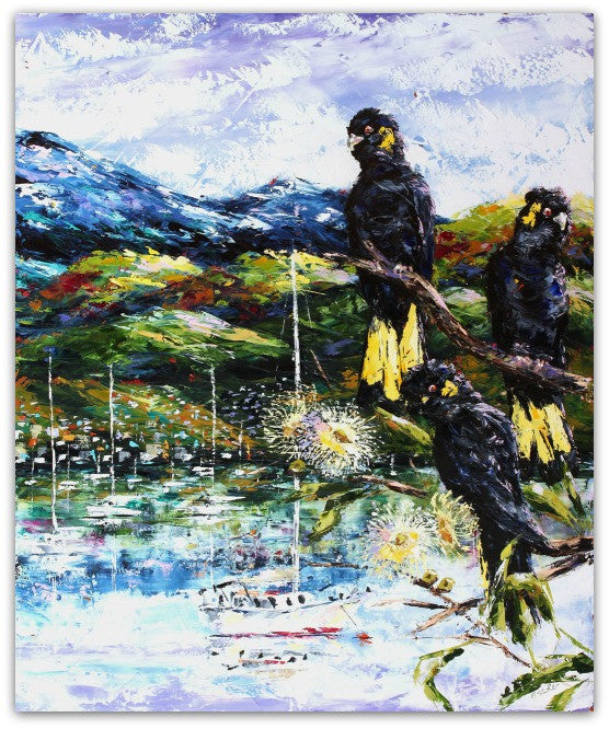 Esther Shohet Painting ~ 'Enjoying the View II' - Gallery Salamanca Tasmania