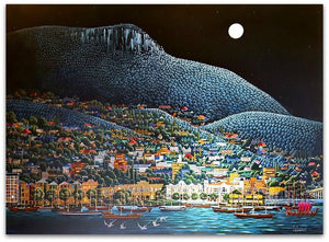 George Callaghan Painting ~ 'A Fantastic Night in Hobart' - Gallery Salamanca Tasmania