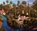George Callaghan Painting ~ 'Canoeing the Derwent' - Gallery Salamanca Hobart Tasmania