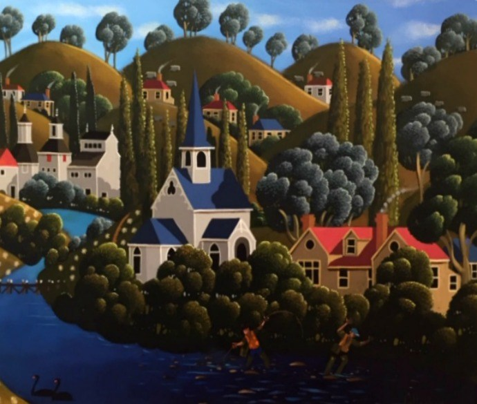 George Callaghan Painting ~ 'Fly Fishing the Derwent' - Gallery Salamanca Hobart Tasmania
