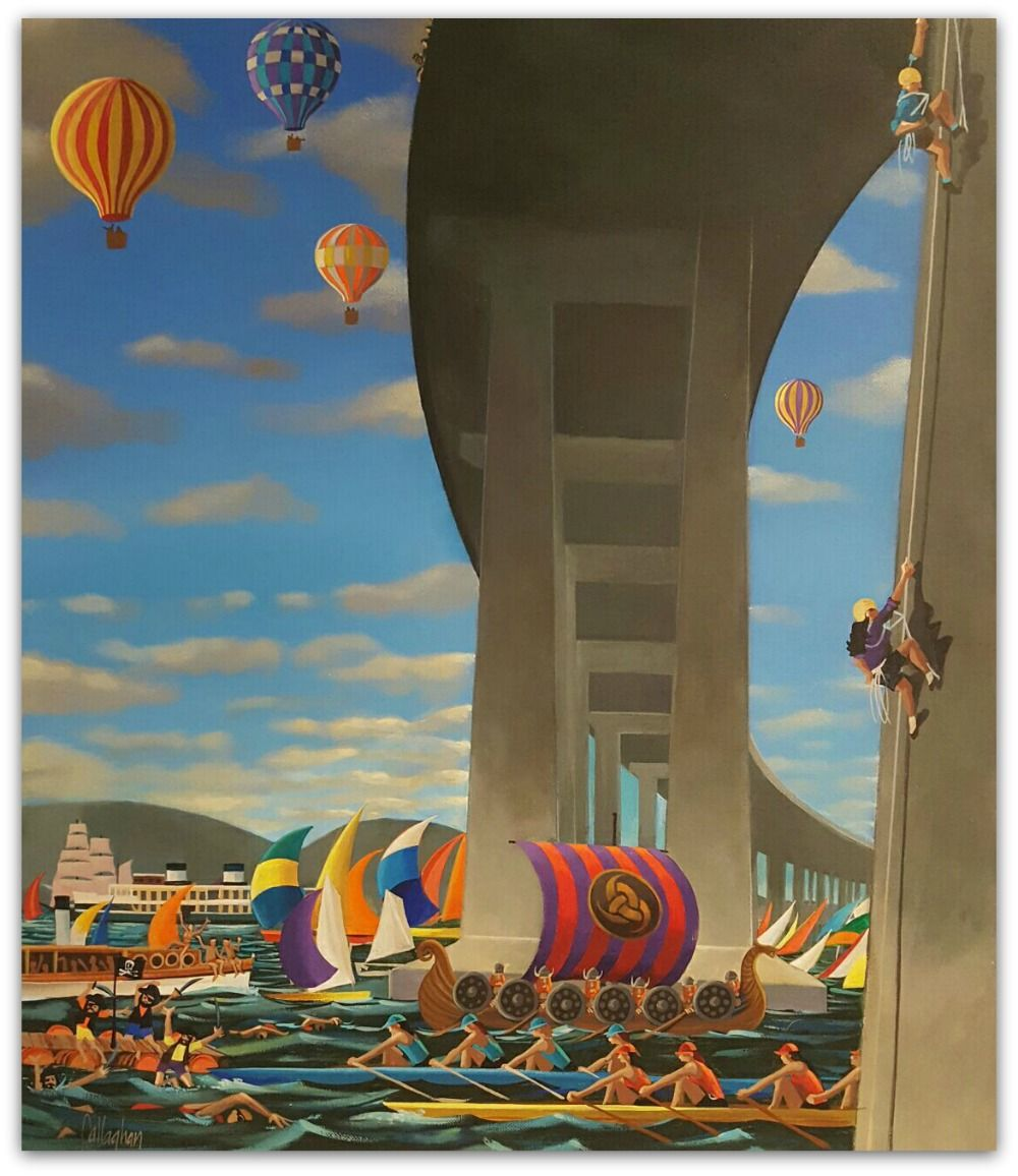 George Callaghan Painting ~ 'Hobart Regatta' - Gallery Salamanca