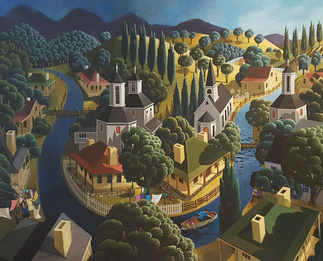 George Callaghan Painting ~ 'Life on the Derwent' - Gallery Salamanca