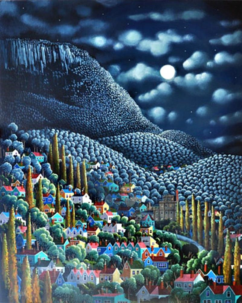 George Callaghan Painting ~ 'South Hobart' - Gallery Salamanca Hobart Tasmania