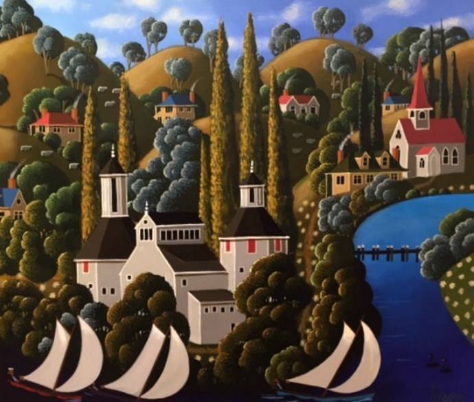 George Callaghan Painting ~ 'Three Fine Sailors' - Gallery Salamanca Hobart Tasmania
