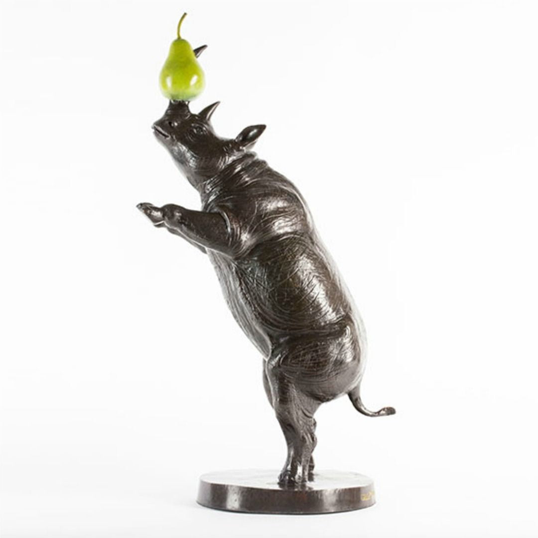 Gillie and Marc ~ Bronze 'He Was a Rhino of Many Talents and Loved Pears' - Gallery Salamanca