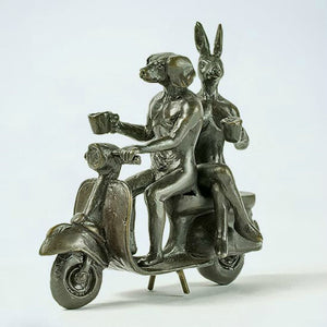 Gillie and Marc Bronze Sculpture ~ 'Pocket Vespa Riders' - Gallery Salamanca Hobart Tasmania